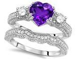 Original Star K™ Heart Shape 7mm Genuine Amethyst Engagement Wedding Set