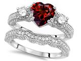 Original Star K™ Heart Shape 7mm Genuine Garnet Engagement Wedding Set