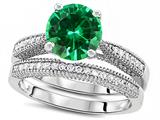 Original Star K™ Round 7mm Simulated Emerald Engagement Wedding Set style: 309757