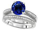 Original Star K™ Round 7mm Created Sapphire Engagement Wedding Set