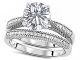 Original Star K™ Round 7mm Genuine White Topaz Engagement Wedding Set