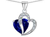 Original Star K™ Large 12mm Simulated Blue Sapphire Heart Pendant with Sterling Silver Chain
