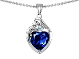 Original Star K™ Loving Mother With Child Family Pendant With 8mm Heart Shape Simulated Sapphire