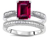 Original Star K™ Emerald Cut 8x6mm Created Ruby Engagement Wedding Set style: 309823