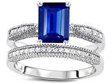 Original Star K™ Emerald Cut 8x6mm Created Sapphire Wedding Set style: 309824