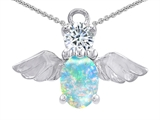 Original Star K™ Angel Of Love Protection Pendant With Oval 8x6mm White Simulated Opal style: 309882