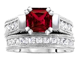 Original Star K™ 7mm Square Cut Created Ruby Engagement Wedding Set style: 309883