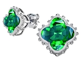 Original Star K™ Clover Earrings Studs 8mm Clover Cut Simulated Emerald style: 309889