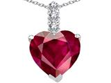Tommaso Design™ Heart Shape Created Ruby and Diamond Pendant style: 309962