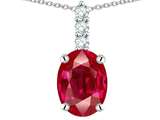 Tommaso Design™ Oval Created Ruby and Diamond Pendant style: 309963