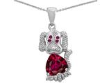 Original Star K™ Heart Shape Created Ruby Dog Pendant style: 309995