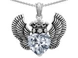Original Star K™ Heart Shape Genuine White Topaz Wings True Love Pendant style: 310041