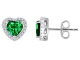 Original Star K™ Heart Shape Simulated Emerald Halo Earring Studs style: 310251