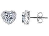 Original Star K™ Heart Shape Genuine White Topaz Halo Earring Studs style: 310252