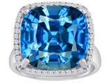 Original Star K™ Large Cushion Cut Simulated Blue Topaz Halo Engagement Ring style: 310369