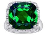 Original Star K™ Large Cushion Cut Simulated Emerald Halo Engagement Ring style: 310374
