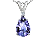 Tommaso Design™ Pear Shape Genuine Tanzanite and Diamond Pendant style: 310572