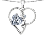 Star K™ Large 10mm Heart Shape Genuine White Topaz Knotted Heart Pendant Necklace style: 310650