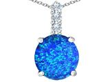 Star K™ Large 12mm Round Blue Created Opal Pendant Necklace style: 310768