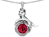 Original Star K™ Cat Lover Pendant with July Birthstone Round 7mm Created Ruby style: 310781