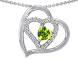 Star K™ Heart Shape Simulated Peridot and Cubic Zirconia Pendant Necklace style: 310840
