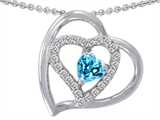 Star K™ 6mm Heart Shape Simulated Blue Topaz Pendant Necklace style: 310841
