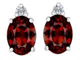Star K™ 8x6mm Oval Simulated Garnet Earrings Studs style: 310855
