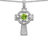 Star K™ Celtic Cross Pendant Necklace with 7mm Round Simulated Peridot and Cubic Zirconia style: 310962