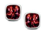 Original Star K™ 7mm Cushion Cut Simulated Garnet Earrings Studs style: 311075