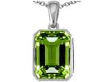 Star K™ Emerald Cut 10x8mm Simulated Peridot Pendant Necklace style: 311079