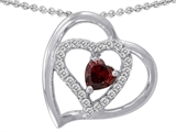 Star K™ 6mm Heart Shape Simulated Garnet Pendant Necklace style: 311090