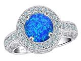 Original Star K™ 7mm Round Created Blue Opal Engagement Ring style: 311219