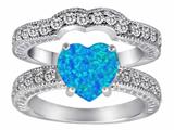 Original Star K™ 8mm Heart Shape Simulated Blue Opal Wedding Set style: 311221