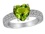 Original Star K™ Genuine 8mm Heart Shape Peridot Ring style: 311225