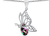 Original Star K™ Butterfly Pendant With 9x6mm Pear Shape Rainbow Mystic Quartz style: 311506