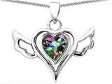 Original Star K™ Wings Of Love Pendant with Heart Shape Rainbow Mystic Quartz style: 311846