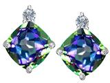 Original Star K™ 7mm Cushion Cut Rainbow Mystic Quartz Earrings Studs style: 311881