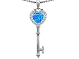 Original Star K™ Key To My Heart Love Pendant With 7mm Heart Shape Blue Simulated Opal style: 350950