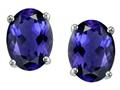 Tommaso Design™ Oval 8x6 mm Genuine Iolite Earrings Studs