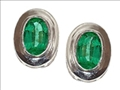 Tommaso Design™ Genuine Oval Emerald Earrings