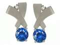 Tommaso Design Round 5mm Genuine Sapphire and Diamond Earrings