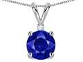 Tommaso Design™ Lab Created Sapphire and Genuine Diamond Pendant