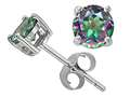 Tommaso Design™ 6mm Round Rainbow Mystic Topaz Earrings Studs