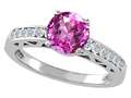 Tommaso Design™ Created Pink Sapphire and Diamond Solitaire Engagement Ring