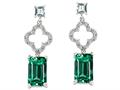 Original Star K™ 925 Simulated Emerald Cut Emerald Earrings