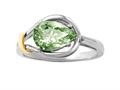 Genuine Pear Shape Green Amethyst Ring