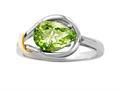 Genuine Pear Shape Peridot Ring