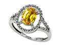 Tommaso Design™ Oval 8x6mm Simulated Yellow Sapphire and Diamond Ring