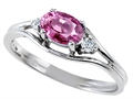 Tommaso Design™ Genuine Pink Tourmaline and Diamond Ring