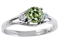 Tommaso Design Genuine Green Sapphire and Diamond Ring